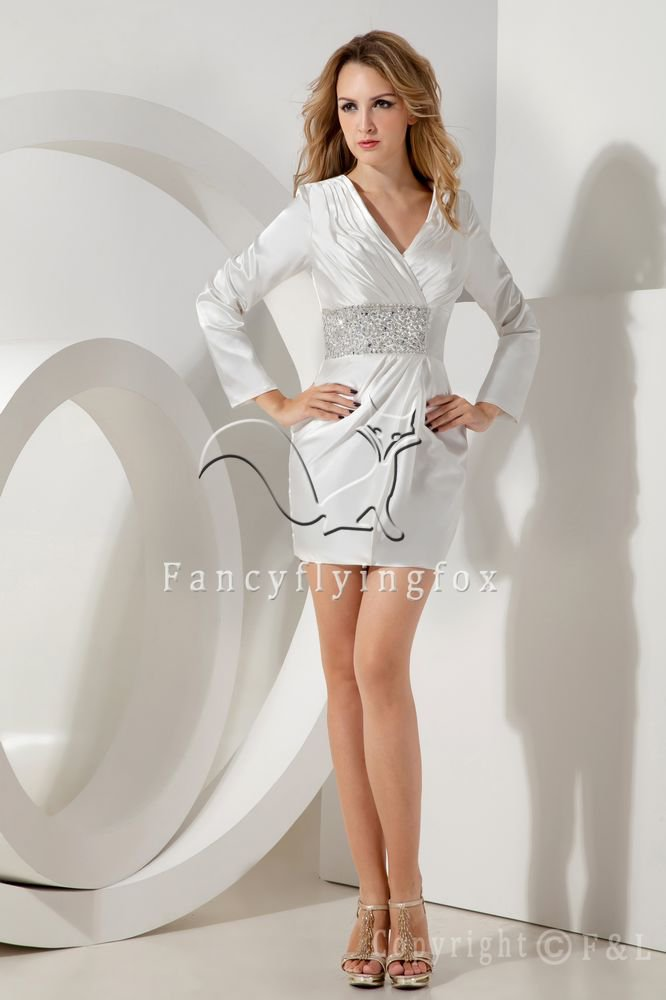 charming white satin v-neck a-line long sleeves mini length mother of the bride dress IMG-1946