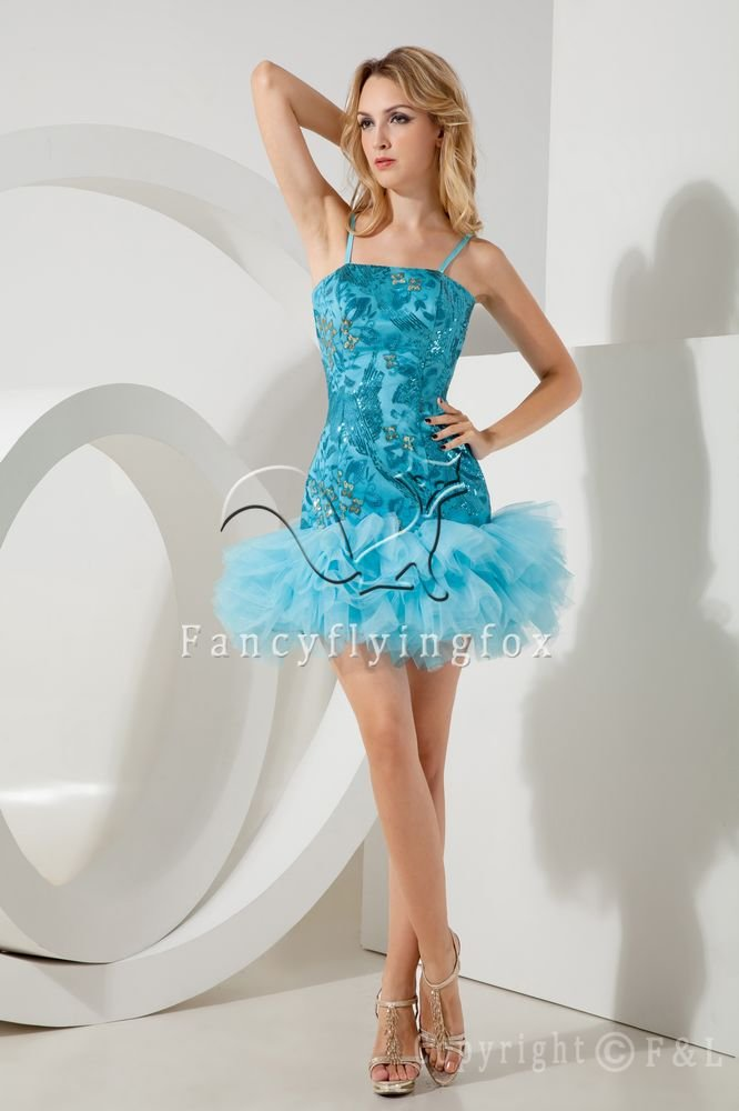 sexy turquoise tulle spaghetti straps a-line mini length cocktail dress IMG-1959