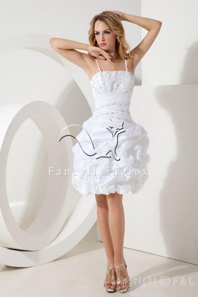 modern white taffeta spaghetti straps ball gown mini length short prom dress IMG-1989