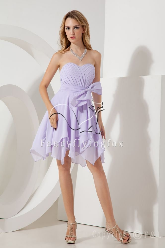 charming lavender chiffon sweetheart a-line knee length short prom dress IMG-2012