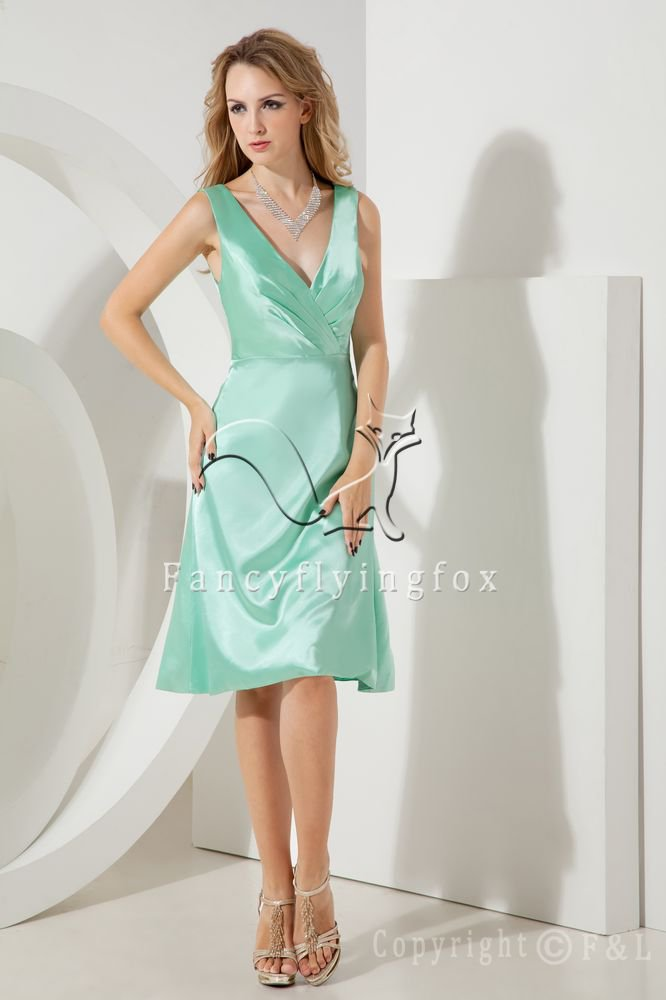 sexy deep v-neck kelly satin a-line knee length mother of the bride dress IMG-2035