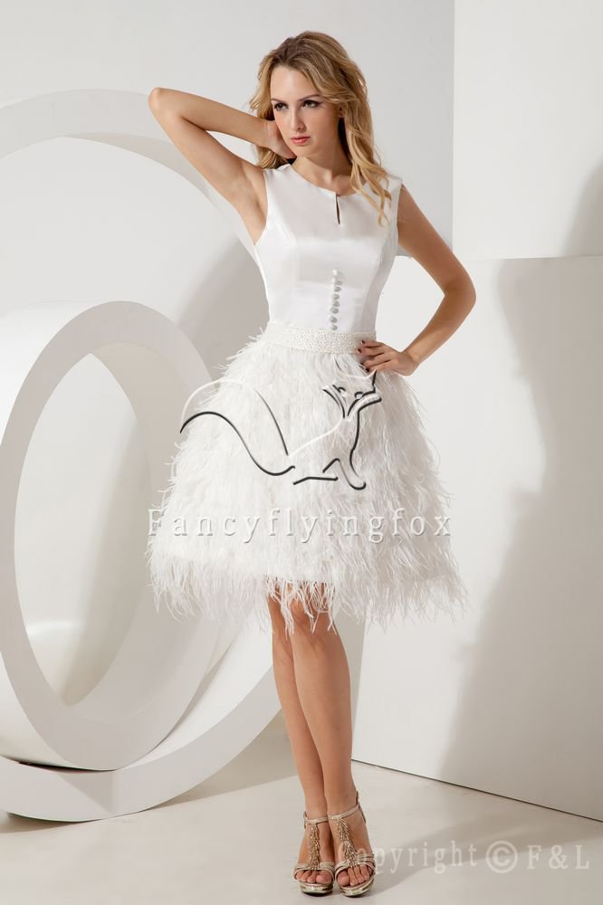 portrait neckline sleeveless white satin evening dress with feather IMG-2047