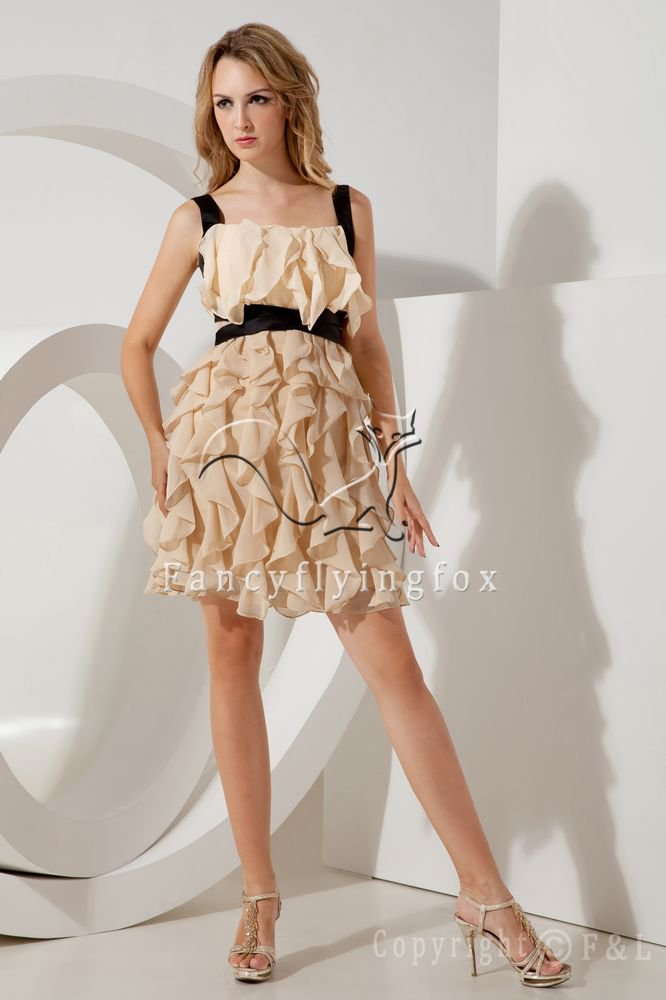charming straps champagne chiffon short prom dress with black sash IMG-2075