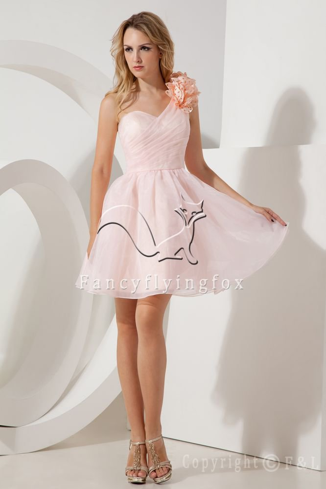 charming pearl pink organza one shoulder short evening dress IMG-2091