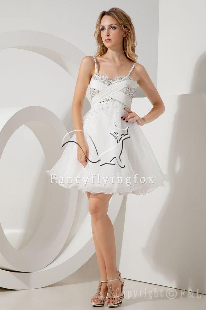 modern white organza spaghetti straps a-line mini length short prom dress IMG-2103