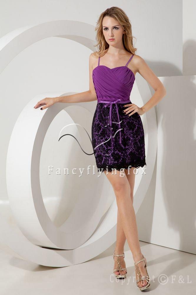 elegant purple chiffon spaghetti straps a-line mini length mother of the bride dress IMG-2164