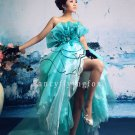 beautiful ice blue organza strapless ball gown tea length quinceanera dress 2011Y-4