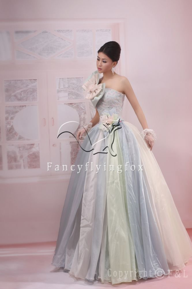 rainbow net strapless ball gown floor length quinceanera dress 2011Y-55