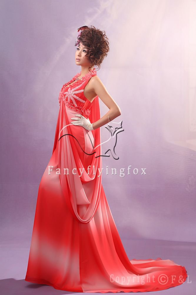 red rainbow chiffon halter neck empire maternity evening dress 2011Y-045