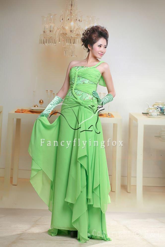 elegant one shoulder chiffon a-line floor length evening dress 2011Y-073