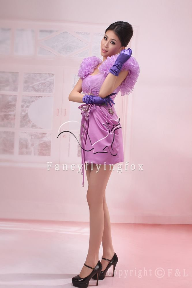sexy and modern lavender satin a-line mini length cocktail dress 368