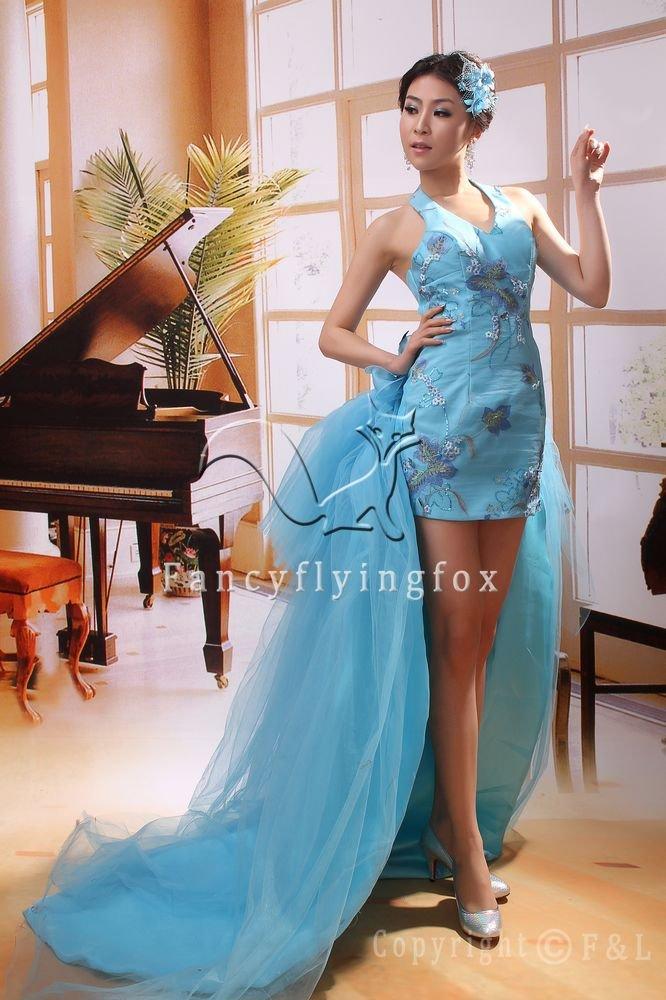 sexy halter sky blue satin sheath mini length cocktail dress 369