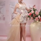 mature light champagne haltr satin cocktail dress with detachable train 369