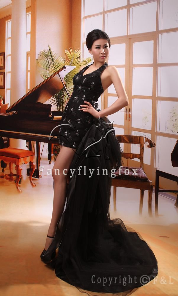 modest black satin hater neck mini length cocktail dress 369