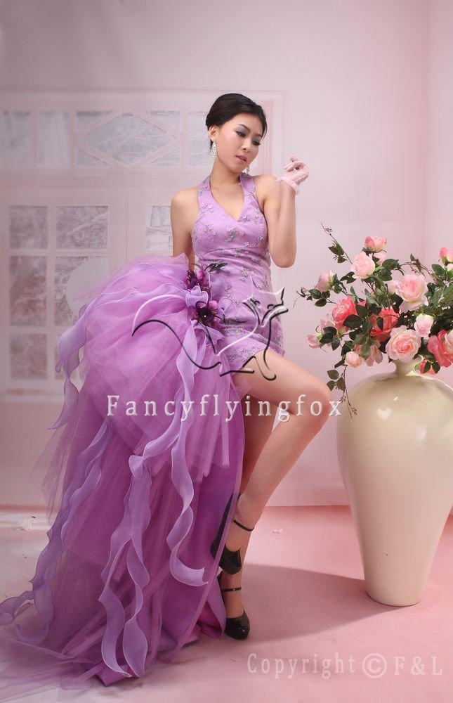charming lavender satin hater a-line cocktail dress 369