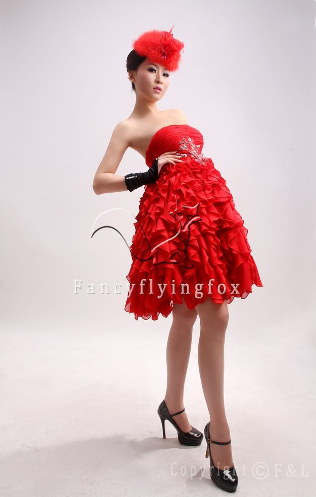 modern red chiffon strapless mini skirt ball gown homecoming dress 370