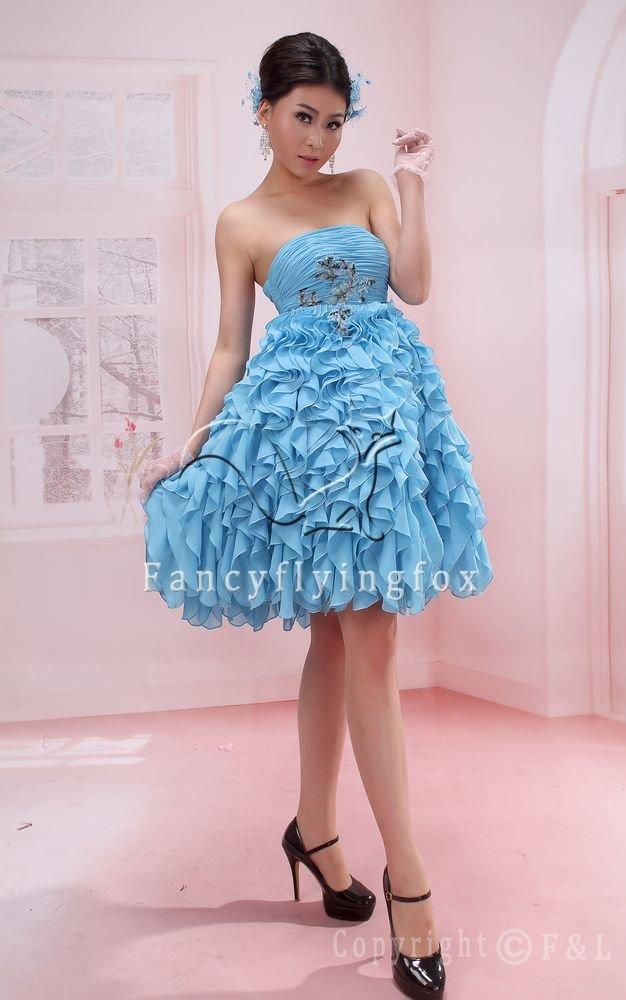 sky blue chiffon strapless knee length cocktail dress with folded skirt 370
