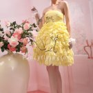 beautiful daffodil chiffon strapless ball gown knee length short prom dress 370