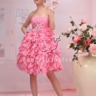 sweet pink chiffon summer skirt knee length short evening dress 370