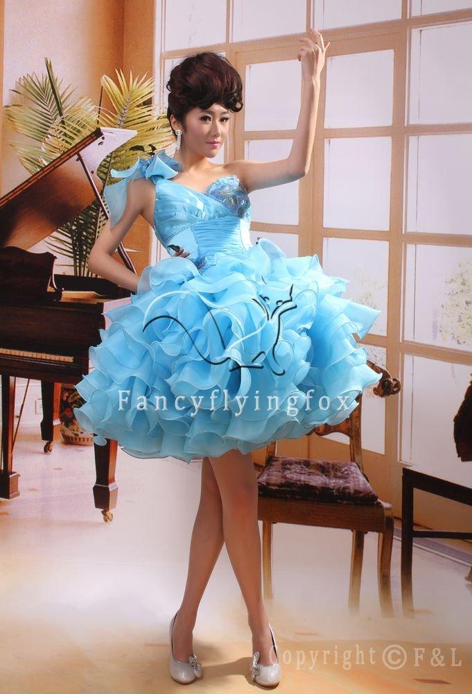gorgeous sky blue organza one shoulder ball gown graduation dress 374