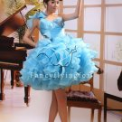gorgeous sky blue organza one shoulder ball gown graduation dress 374