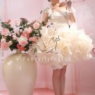 cream organza one shoulder homecoming dress with ruffled skirt 374