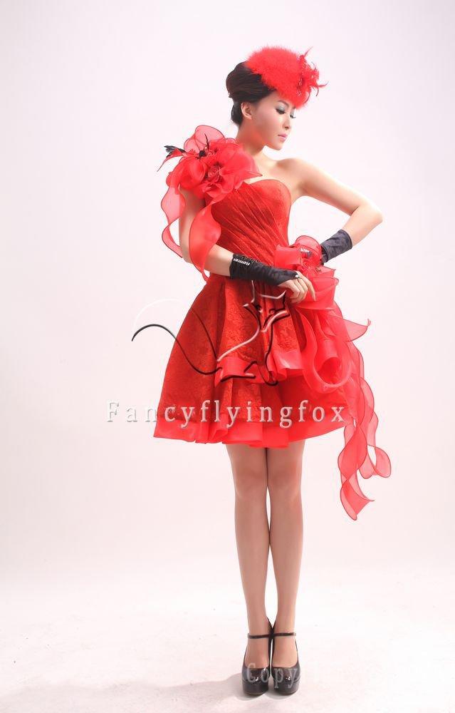 sexy hot red one shoulder a-line mini skort cocktail dress 375