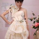 modern ivory lace one shoulder a-line mini length cocktail dress 375