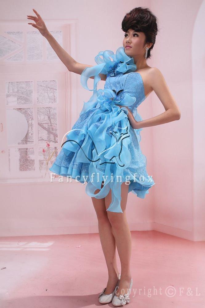 sky blue lace one shoulder mini length graduation dress 375