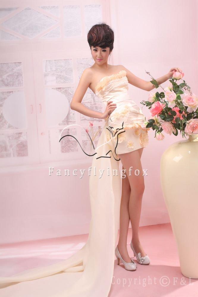 chic cream satin strapless a-line mini length cocktail dress 376