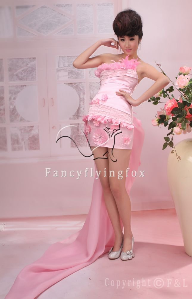 sweet pink satin strapless a-line mini length homecoming dress 376