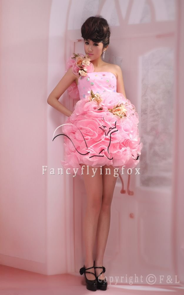 sweet pink organza one shoulder ball gown mini length homecoming dress 378