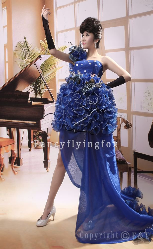 elegant royal blue tulle one shoulder ball gown mini length cocktail dress 378