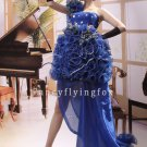elegant royal blue tulle one shoulder ball gown mini length cocktail dress 378