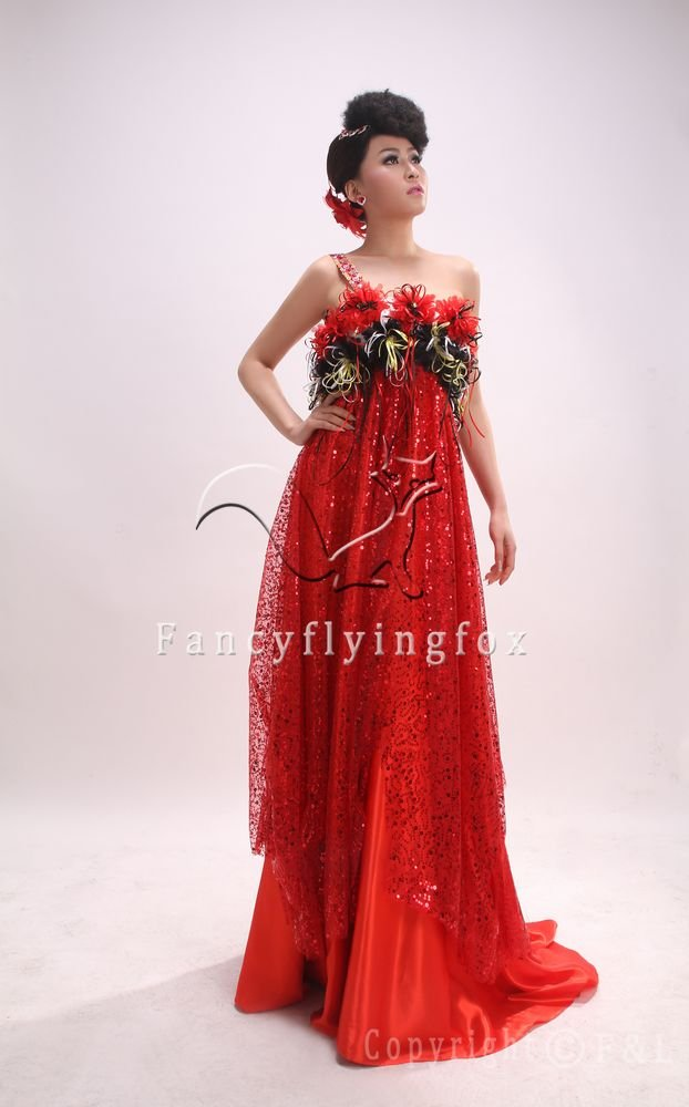 2013 luxurious red sequined one shoulder empire pregnant  prom dress 500