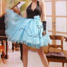 modern and sexy black and sky blue organza mini length cocktail dress 28013