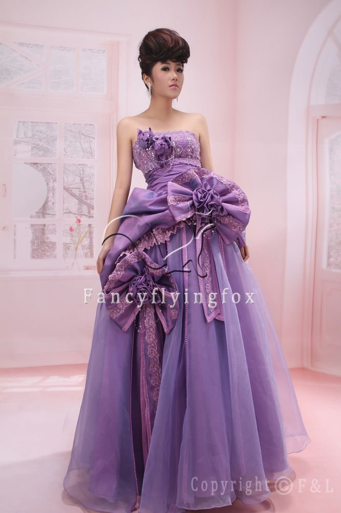 charming lavender strapless tulle ball gown floor length quinceanera dress ok-8
