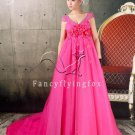 modern fuchsia tulle empire maternity prom dress ok-13