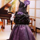 modest black and purple lace straps a-line floor length quinceanera dress ok-14