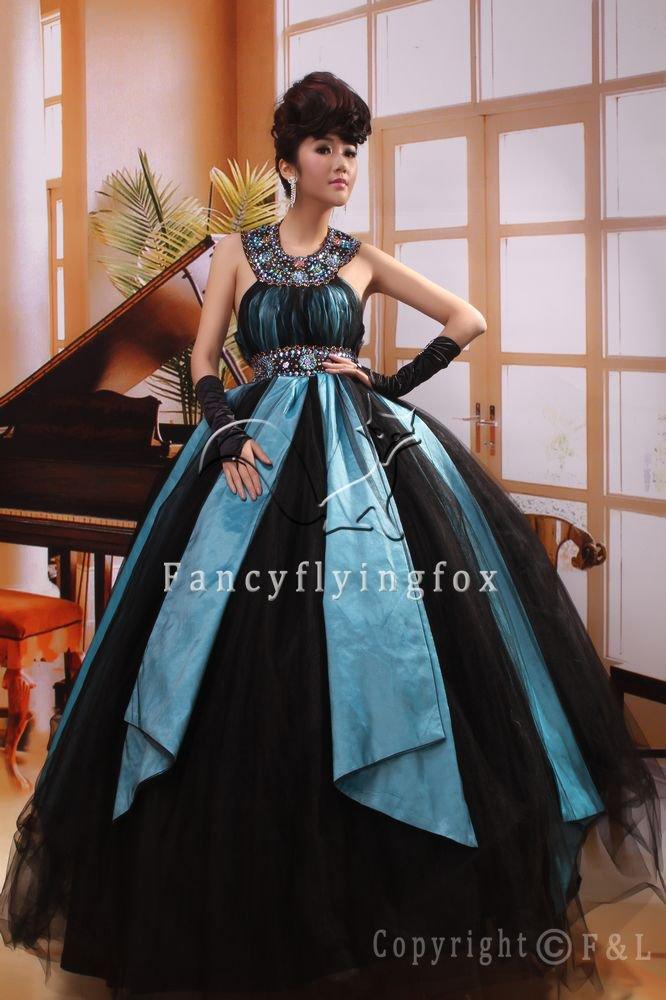 modern black tulle halter neck ball gown floor length quinceanera dress ok-15
