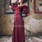 elegant grape chiffon cap sleeve v-neck a-line mother of the bride dress ok-16
