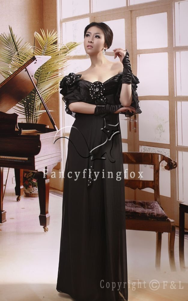 modest black chiffon v-neck a-line off-shoulder short sleeves mother of the bride dress ok-16