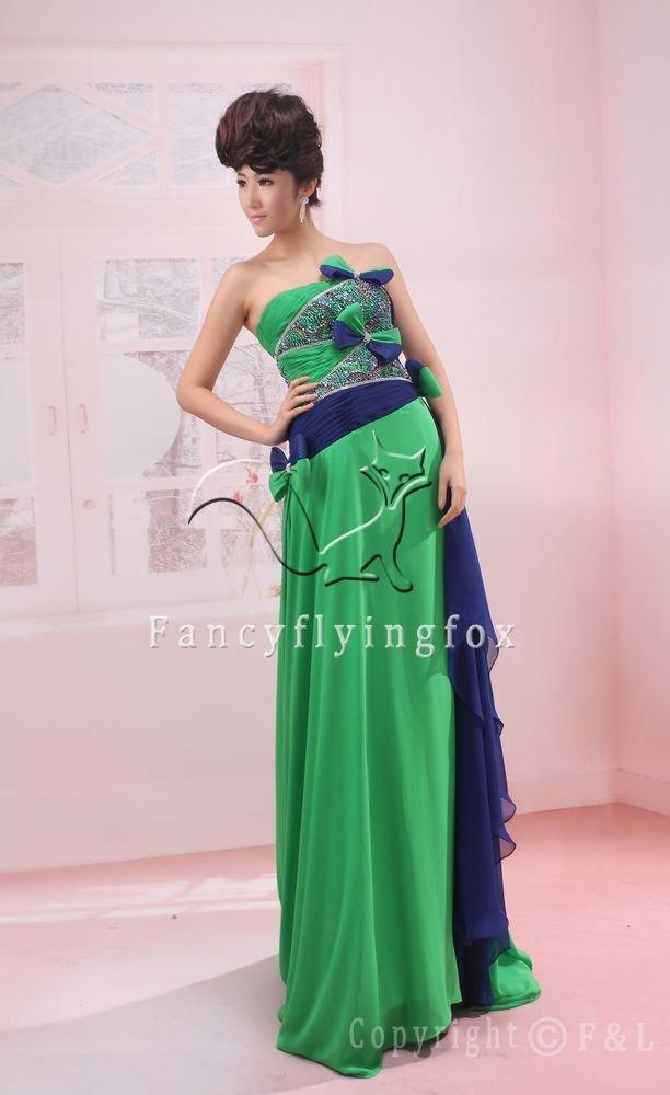 elegant green chiffon strapless a-line floor length prom dress y055