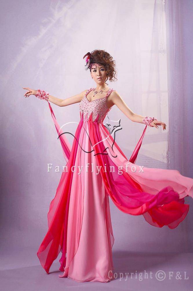 modern and sexy fuchsia chiffon straps a-line floor length prom dress y-040