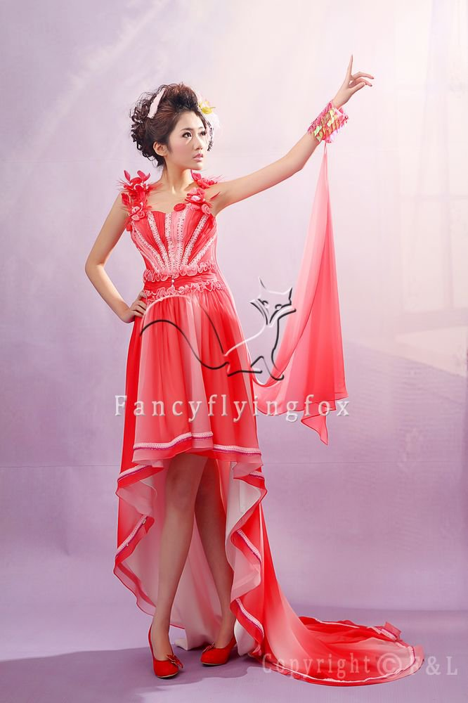 modern and chic rainbow chiffon tea-length prom dress y-044