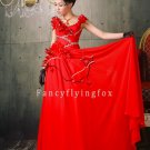 sexy and modern red chiffon sleeveless a-line floor length bridemaid dress 12