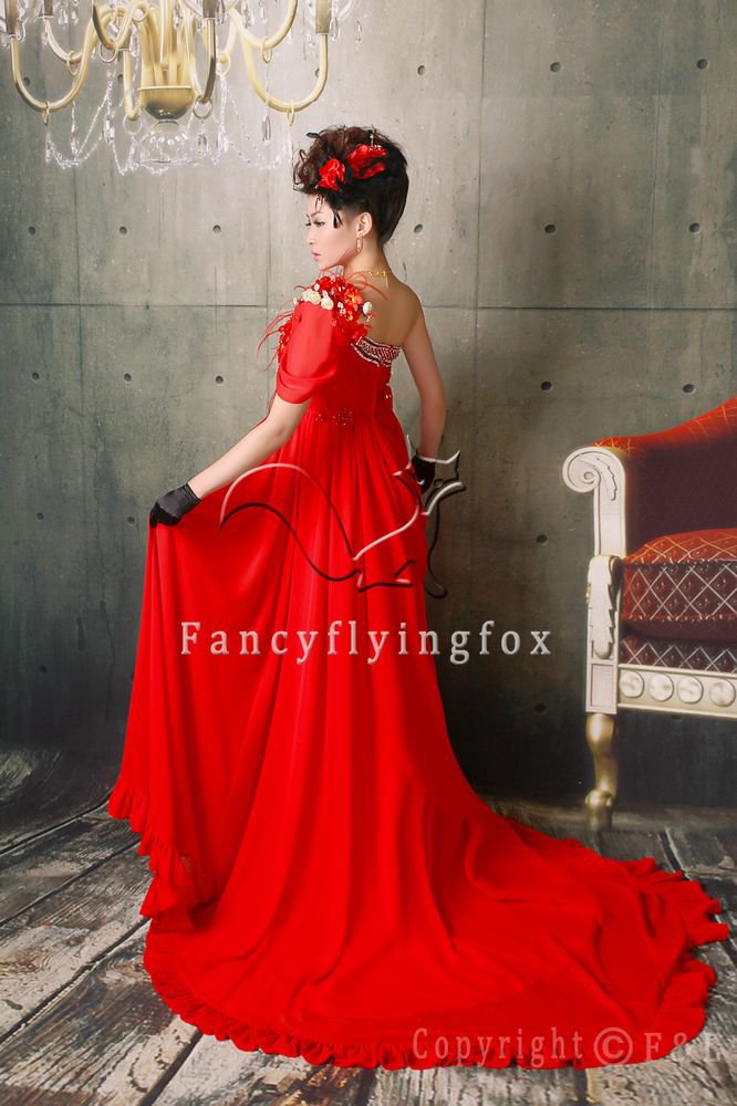 elegant red chiffon one shoulder a-line floor length evening dress 14