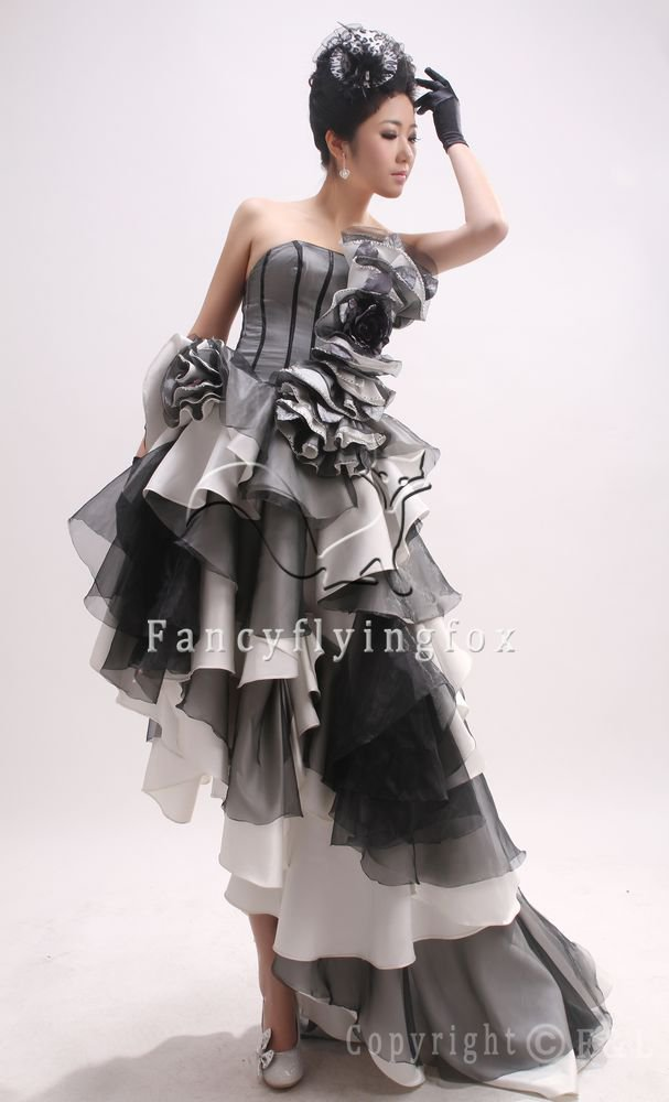 elegant black and white tulle strapless a-line prom gowns 362