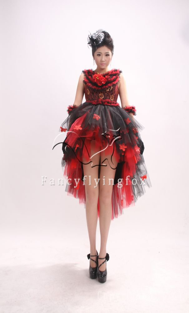 classic red and black net portrait neck ball gown mini length prom dress 364