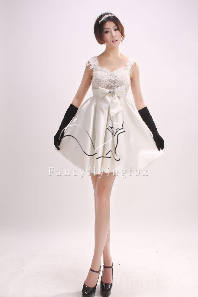 lovely white satin straps a-line mini length bridemaid dress 371